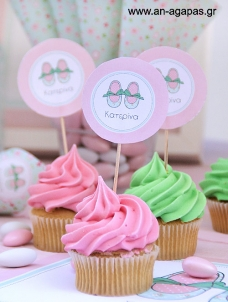 ΑΝ ΑΓΑΠΑΣ - Cupcake toppers Flowery Shoes