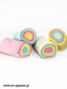 Marshmallows rainbow rolls