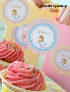 Cupcake Toppers Γοργόνα