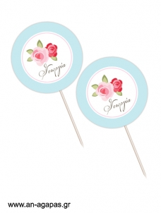 Cupcake Toppers  Blossom in Blue