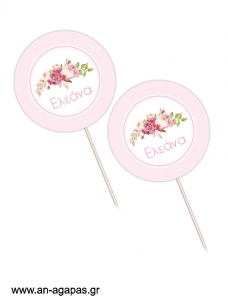 Cupcake Toppers  Bouquetin Pink