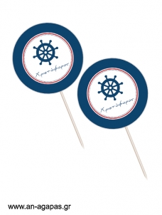 Cupcake Toppers  Red Nautical