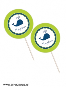 Cupcake Toppers  Whale Boy