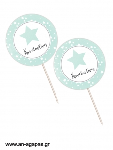 Cupcake Toppers   Shiny Star Mint