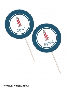 Cupcake Toppers Lighthouse Red
