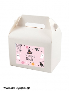 Treat Box Label Pink Halloween