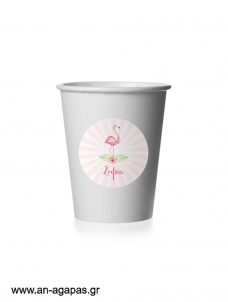 Round Stickers Tropical Flamingo