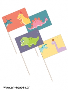 Toothpick Flags Happy Dino