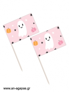 Toothpick flags Pink Halloween