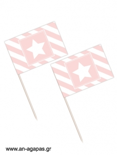 Toothpick flags Pink Star
