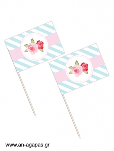 Toothpick flags Blossom in Blue