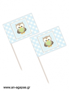 Toothpick flags Little Owl Blue