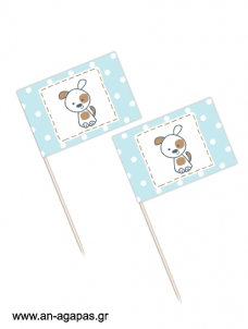 Toothpick flags Happy Puppy