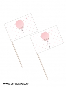 Toothpick flags Balloon Pink