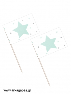 Toothpick flags  Shiny Star Mint