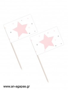 Toothpick flags   Shiny Star Pink