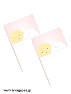 Toothpick flags Sun & Cloud Girl
