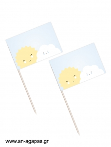 Toothpick flags Sun & Cloud Boy