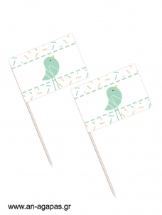 Toothpick flags Blue Bird