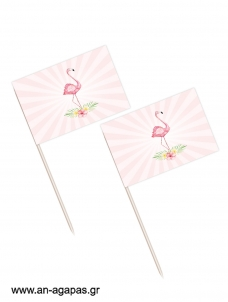 Toothpick flags Tropical Flamingo