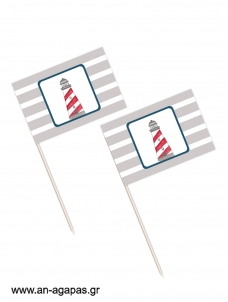 Toothpick flags Lighthouse Red