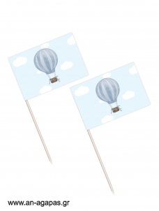 Toothpick flags Blue Hotair Balloon