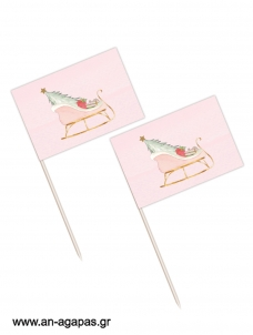 Toothpick flags Pink Sleight Christmas