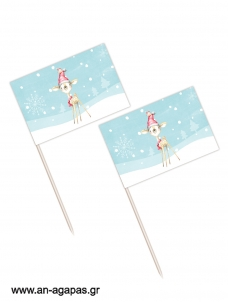 Toothpick flags Christmas Baby Deer