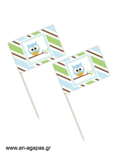 Toothpick flags Blue Owl