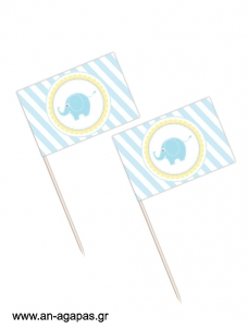 Toothpick flags Baby Elephant Blue