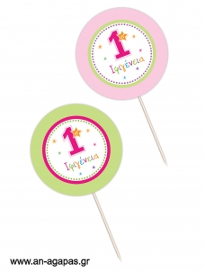 Cupcake toppers 1st Birthday Girl