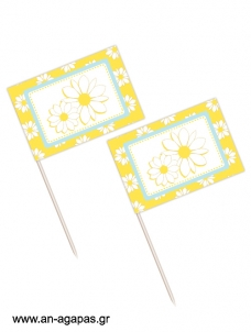 Toothpick flags Daisy Bloom