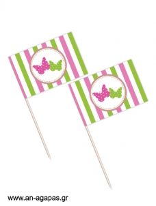 Toothpick flags Butterflies