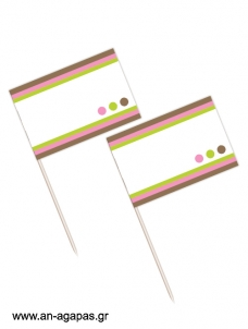 Toothpick flags Bold Dots Girl