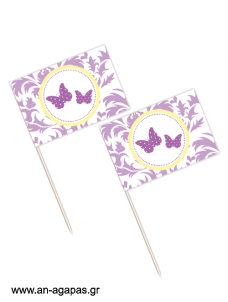 Toothpick flags Purple Butterflies