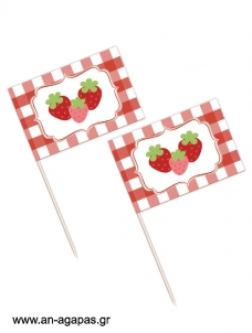 Toothpick flags Strawberry Fields