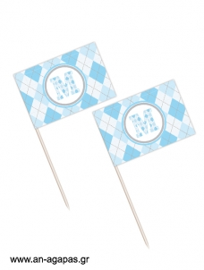 Toothpick flags Blue Checks