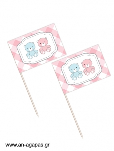 Toothpick flags Twin Teddies