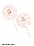 Cupcake Toppers  Little Owl Pink