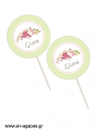 Cupcake Toppers  Bouquetin Green