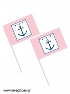 Toothpick flags Pink Nautical