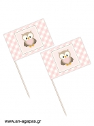 Toothpick flags Little Owl Pink