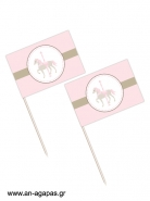 Toothpick flags Pink Carousel