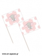 Toothpick flags Baby Pink Elephant