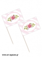 Toothpick flags Bouquetin Pink