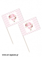 Toothpick flags Pink Hotair Balloon