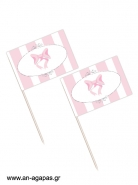 Toothpick flags Pink Dots & Stripes