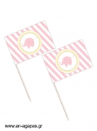 Toothpick flags Baby Elephant Pink