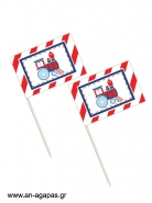 Toothpick flags Steam Train