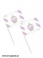 Toothpick flags Lavender Cupcake